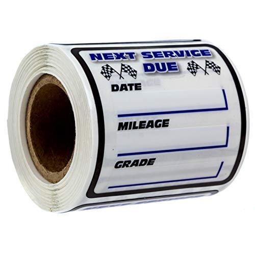 SBLABELS Oil Change/Service Reminder Stickers (100 Stickers) / 2 inches x 2 inches/Checkered Flag Oil Change Reminder