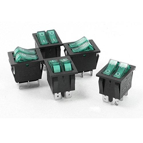 DealMux Verde Iluminado Luz de Encendido/Apagado 2 Barco Interruptor oscilante 6A / 250V 20A / 125V AC de 5 PC