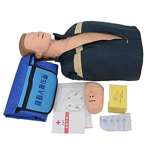 HUAQINEI Maniquí de RCP, maniquí de Ayuda con Bolsa de Lona y 4 Bolsas de pulmón, Modelo de demostración de Primeros Auxilios para enseñanza médica