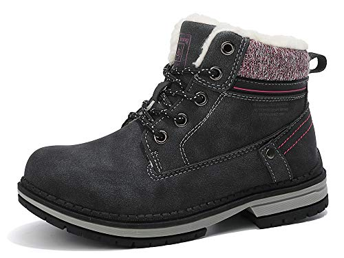 ABTOP Botas Niño Niña Botines Zapatos Invierno Botas de Nieve Cálido Fur Forro Aire Libre Boots Escuela Urbano Fiesta Caminando Senderismo (31 EU, C9377-Negro)