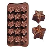 HCYL Molde de chocolate en forma de estrella de 15 cavidades, molde antiadherente de silicona de grado alimenticio para gelatina de chocolate dulce, cubo de hielo (marrón)