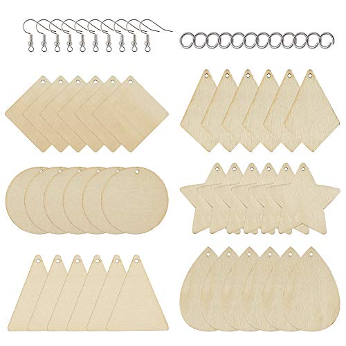 PandaHall 60pcs Unfinished Wooden Earring Pendant 6 Styles Geometric Blank Wood Cutout with Jump Rings & Earring Hooks for Jewelry Crafts Making