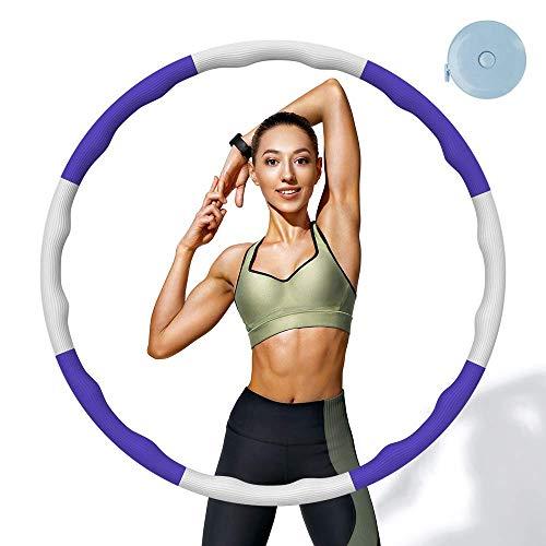 HOOMAGIC Hula Hoop Reifen 8 Sektion Abnehmbares Fitness Hula Hoop zur Gewichtsreduktion mit Mini Maßband für Erwachsene oder Kinder, Fitness, Sport, Massage, BüRo - (1,2kg)