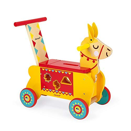 Janod Multi-Activities Wooden Llama Toddler Ride-On – Baby Sit-to-Stand Push Toy with Original Shape Sorter Accessories – Physical, Imaginative, and Developmental Play – Ages 12 Months+
