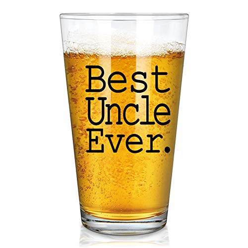 Best Uncle Ever Beer Glass, Great Uncle Beer Pint Glass for Men Uncle Husband Friend from Nephew Niece Wife, Perfect Uncle Gift Idea for Christmas Birthday Father's Day, 15 Oz