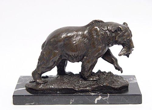 Decoratie Bronzefigur Skulptur Motiv: Grizzly Bär mit Fisch im Maul auf Marmorsockel Bronze Länge 20 cm
