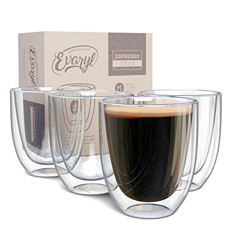 Double Wall Espresso Cup Set of 4 - Insulated Expresso Coffee Cups Sets - Stackable Espresso Shot Glasses - 2.6oz Demitasse Espresso Cups Glass Set for Lungo, Doppio & Turkish - Espresso Gift Set Mugs