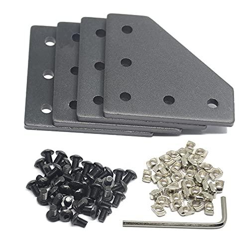 Iverntech 8 piastre di collegamento angolari a forma di L con 40 dadi M5 T + 40 viti M5 + 1 chiave inglese per profilo estrusione standard in alluminio con fessura da 6 mm 2020…