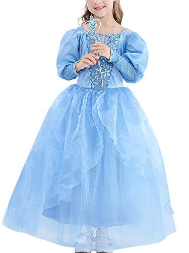O.AMBW Vestido de Princesa Nia Princesa Disfraz Fancy Dress Vestido de Manga Larga Traje Fiesta Navidad De Cumpleaos De Halloween Cosplay Partido 3-9 Aos