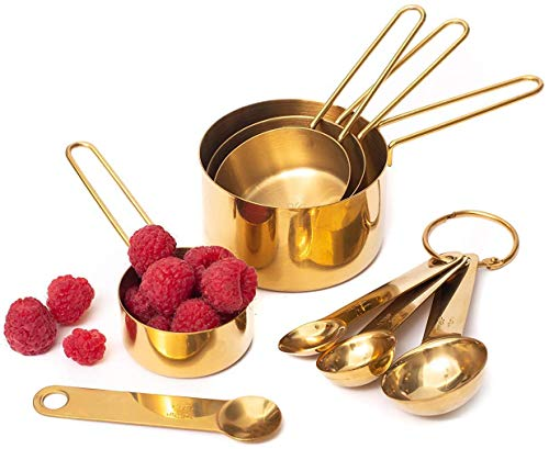 Modern Stainless Steel Measuring Cups and Spoons Set, Gold - Stackable, Stylish, Sturdy Metal Measuring Cups and Metal Measuring Spoons Set (8-Piece) - Cute Measuring Cup Set, Gold Kitchen Accessories