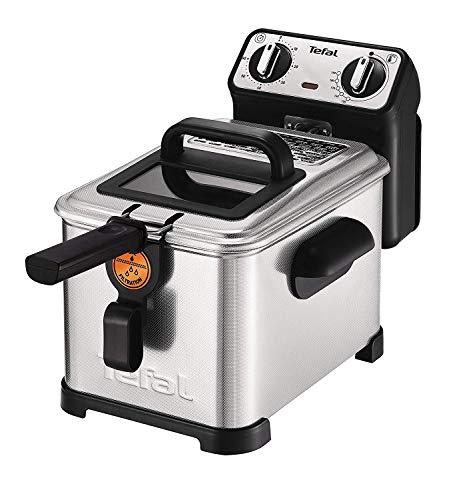 Tefal FR5101 Filtra Pro Inox & Design 3,0L Premium Fritteuse (2300 Watt, Semiprofessionelle Fritteuse mit Öl, Clean-Oil-System, wärmeisoliert, Thermostat, Timer, knusprige Pommes) edelstahl/schwarz
