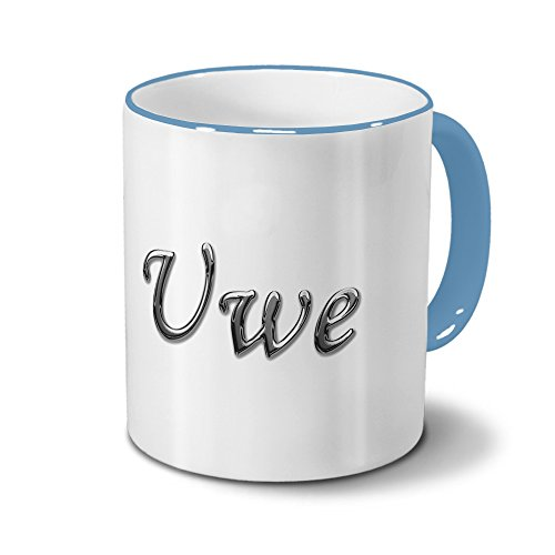 Tasse mit Namen Uwe - Motiv Chrom-Schriftzug - Namenstasse, Kaffeebecher, Mug, Becher, Kaffeetasse - Farbe Hellblau