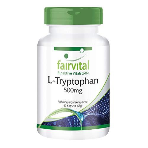 L-Tryptofaan capsules 500 mg - HOOG GEDOSEERD - VEGAN - 90 capsules - essentieel aminozuur