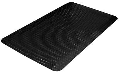Durable Vinyl Heavy Duty Diamond-Dek Sponge Industrial Anti-Fatigue Floor Mat for Garage, Commercial Kitchen, Factory & More, Black