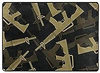 フロアマット 大判,ミリタリーM16ライフルのシームレスパターン。マシンガンの3D背景。陸軍の装飾品 新年の部屋の装飾 フローリング/畳/床暖房対応(213×152cm 厚1.5mm)