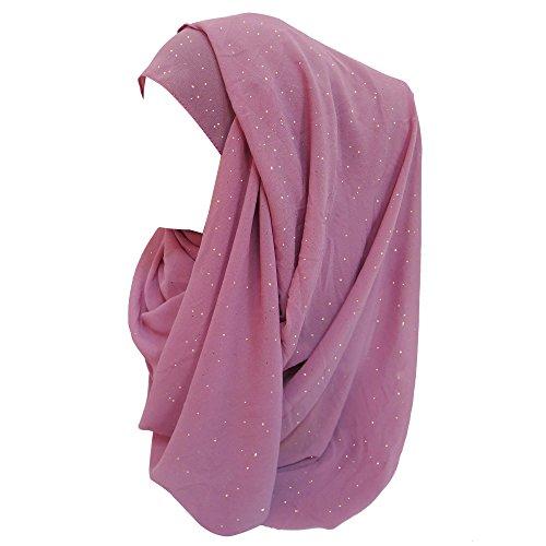 Lina & Lily Lina & Lily Damen Muslim Hijab Kopftuch Schal Glitzer Chiffon (Dusty Pink)