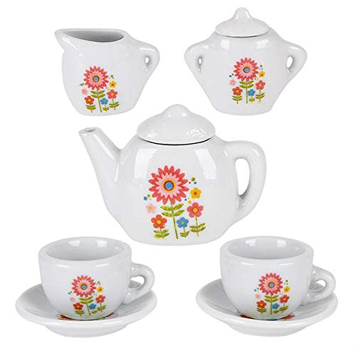 ArtCreativity Mini Porcelain Tea Set for Kids - Ceramic Pretend Play Set - Miniature Saucers, Cups, Teapot, Sugar and Cream Dispenser - Best Holiday, Birthday Gift for Boys and Girls Ages 8+