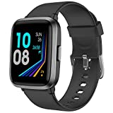YAMAY Smart Watch, Watches for Men Women Fitness Tracker Blood Pressure Monitor Blood Oxygen Meter Heart Rate Monitor IP68 Waterproof, Smartwatch Compatible with iPhone Samsung Android Phones (Black)