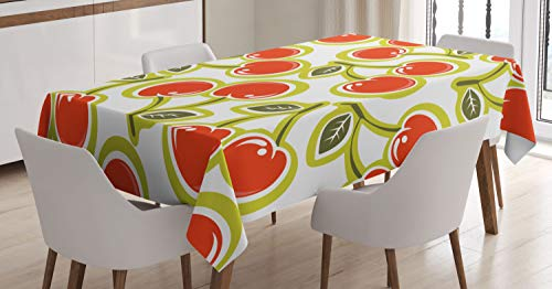 ABAKUHAUS Fruit Nappe, Motif Cerise et Feuilles, Linge de Table Rectangulaire pour Salle à Manger Décor de Cuisine, 140 cm x 200 cm, Pomme Verte Rouge Blanc