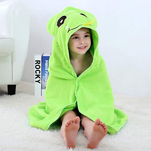 LRQY Serviette à Capuchon Peignoirs pour Enfant Bébé Bambin,100% Coton Doux Douche Plage Natation Poncho,90x90cm(35x35inch),Green