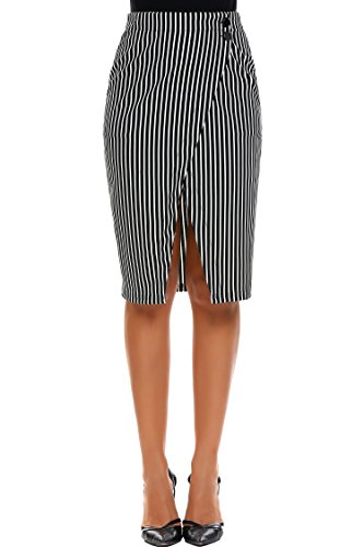 Zeagoo Women High Waist Striped Pencil Skirt Stretchy Knee Length Split Wrap Skirt S-XXL Black