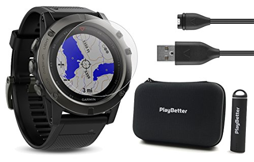 Garmin Fenix 5X Sapphire (Slate Gray with Black Band) Power Bundle| +Screen Protector, PlayBetter Portable Charger & Protective Hard Case | Multi-Sport GPS, TOPO Maps/Navigation & On-Wrist Heart Rate