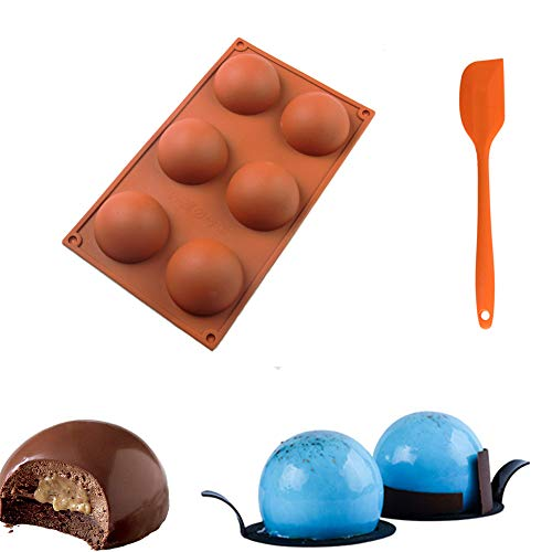 1 Pack Chocolate Mold 6 Holes Sphere Silicone Mold for Baking Cake DIY Mothers Day Gifts with Silicone Spatula Set (Ball)