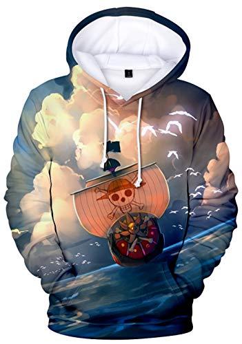 HAOSHENG Sudadera Hombre One Piece Impresión 3D Luffy Sudadera con Capucha Deportiva para Mujeres para Fanes(XL)