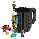 Lumsburry Build-on Brick Mug DIY Coffee Cup Creativi Blocchi per Caffè Tè Bevanda Bere Divertente Regalo (Nero)