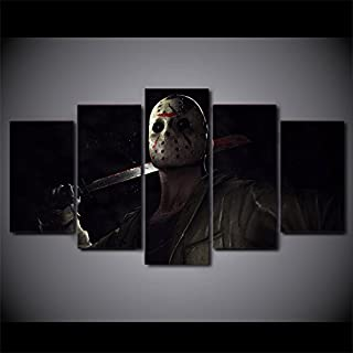 Jason Voorhees Friday the 13th character print canvas decoration 5 pieces