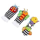 NUOBESTY Sonajeros Y Calcetines de Muñeca para Bebés 4 Piezas/ Set de Juguetes Blandos para Bebés Buscador de Pies para Bebés con Estimulación Sensorial Juguetes de Souding Regalo para