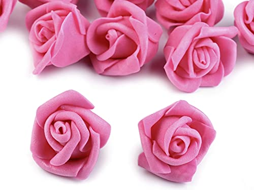 10 Deko-Rose Rosenblüte Rosenkopf 4,5 cm Foamrosen Schaumrosen, Farbwahl, Farbe:pink