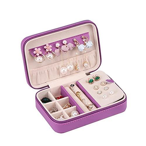 Bract Joyero para mujer, pequeño joyero de piel sintética, estuche de joyería, portátil, para anillos, pendientes, collar, 4 colores