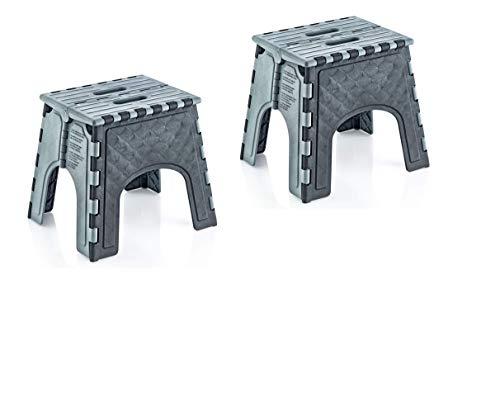 Milanino 2er Pack Tritthocker | Sitzhocker | Klapptritt | Klapphocker | Campinghocker (klein, grau)