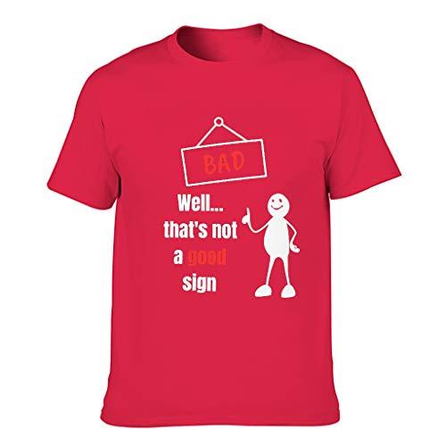 Herren Baumwoll-T-Shirt Das ist kein gutes Zeichen locker geschnitten Runder Ausschnitt -Satirische Cartoons Oberteil für Fitness red1 4XL