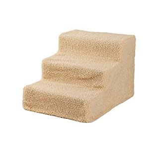 DOLMER Stable & Versatile Home-Use Cat Tower, Cat Dog Steps Ramp Small Climb Pet Step Stairs with 3 Steps, 17.72 x 13.78 x 11.81, Beige