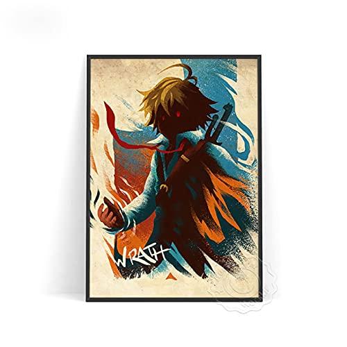 lubenwei Póster de Personaje de Anime Jojo Luffy, Arte de Pared, póster con Estampado de One Punch Man, Pegatinas de Pared de Demon Slayer, Regalo para habitación de niños (AU-1125) 50x70cm Sin Marco