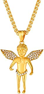 Rhinestones Angel Cherub Angel Necklace with Austrian Rhinestone Stainless Steel/Gold Color Chain Baby Angel Collar Gp2708