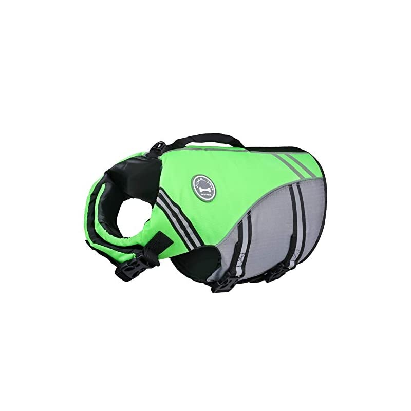 dog supplies online vivaglory new sports style ripstop dog life jacket with superior buoyancy & rescue handle, bright green, l