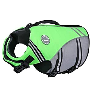 Vivaglory New Sports Style Ripstop Dog Life Jacket with Superior Buoyancy & Rescue Handle, Bright Green, M