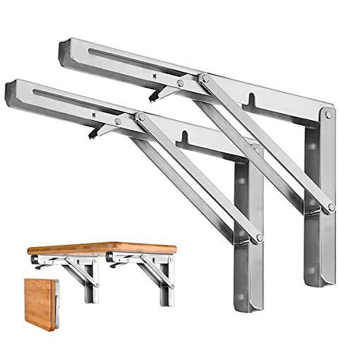 "Folding Shelf Brackets - Heavy Duty Stainless Steel Collapsible Shelf Bracket for Bench Table, Space Saving DIY Bracket, Max Load: 550lb (Long:10"" ,2 PCS)"