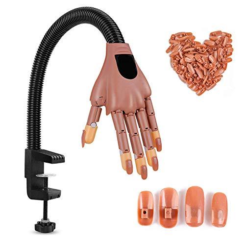 Nageldesign Hand, Nageltraining Hände, übungshand für nageldesign, Einstellbar Und Biegbar(100 Künstliche Nägel), Flexible Fingerspitzen, Zum Nageltraining Und Lernen