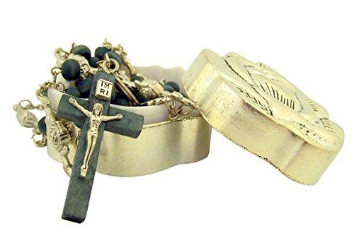 Glitzs Jewels 925 Sterling Silver Catholic Rosary Beads Necklace Rosary, Diamond Cut Bead, Yellow Gold Tone Religious Jewelry