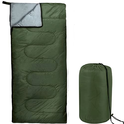 Envelope Sleeping Bags 4 Seasons Warm or Cold Lightweight Indoor Outdoor Sleeping Bags for Adults, Backpacking, Camping (Green)