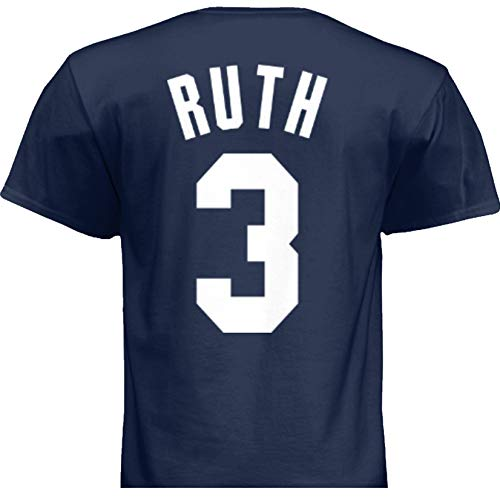 HOFSM.COM Hall of Fame Sports Memorabilia NWT New Ruth #3 New York Blue Custom Baseball T-Shirt Jersey No Logos Men's (2XL)