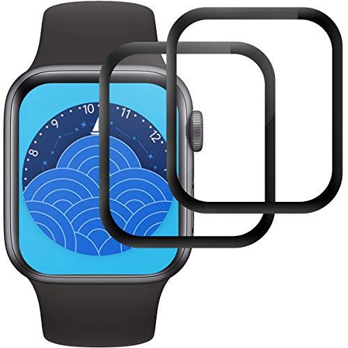RIIMUHIR Cristal Templado para Apple Watch Series 6/5/4/SE 44mm, [2 Piezas] Protector de Pantalla para iWatch Series 6/5/4/SE 44mm, Vidrio Templado, 3D Cobertura Completa, Sin Burbujas