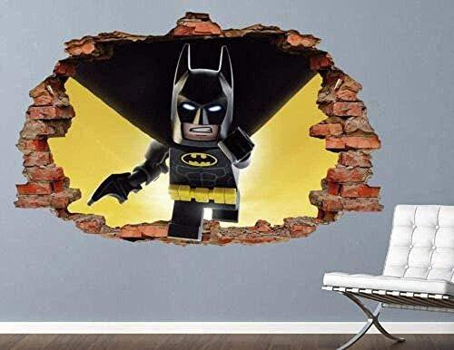 SHUBING 3D Exterior Wall Sticker 3D Vinyl Art Sticker Hero Spider Broken Dark Brown Brick Wall