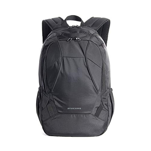 Tucano Doppio Rucksack für 15,6 Zoll MacBook, Laptop, Ultrabook, iPad, Tablet Wasser- und schmutzabweisend mit vielen Details Schwarz