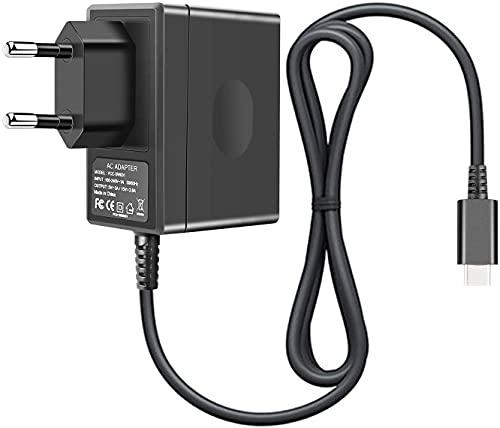 Chargeur pour Switch, Switch et Switch Lite adaptateur secteur 15V/2.6A Chargeur mural de charge rapide avec câble 5FT type C, prend en charge le mode TV
