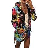 Katenyl Abrigo de sudadera estampado con capucha para mujer con cremallera Streetwear Moda Entrenamiento Correr Cómoda chaqueta de bolsillo M